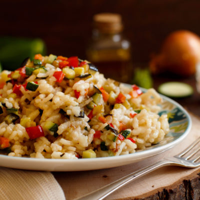 Simple Slow Cooker Vegetable Risotto Recipe
